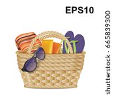 beach basket with sunglasses ... | Shutterstock .eps vector #665839300