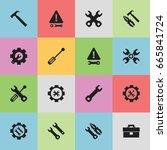 set of 16 editable repair icons.... | Shutterstock .eps vector #665841724