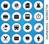 set of 16 editable education... | Shutterstock .eps vector #665841736