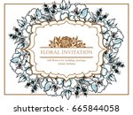 vintage delicate invitation... | Shutterstock . vector #665844058