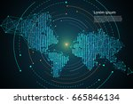 abstract technology map dot... | Shutterstock .eps vector #665846134