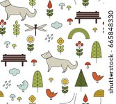seamless pattern in...   Shutterstock .eps vector #665848330