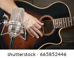 microphone recording an... | Shutterstock . vector #665852446