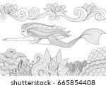pretty mermaid swimming above... | Shutterstock .eps vector #665854408