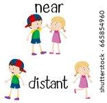 opposite words for near and... | Shutterstock .eps vector #665854960