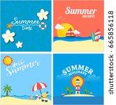 set of summer view poster... | Shutterstock .eps vector #665856118