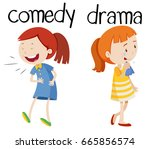opposite words for comedy and... | Shutterstock .eps vector #665856574