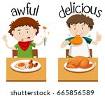 opposite words for awful and...   Shutterstock .eps vector #665856589