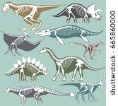 dinosaurs skeletons silhouettes ... | Shutterstock .eps vector #665860000