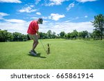man playing golf with golf club ... | Shutterstock . vector #665861914