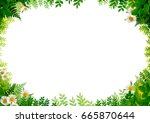 nature frame with blank space | Shutterstock . vector #665870644