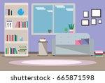 illustration interior living... | Shutterstock . vector #665871598
