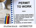 work permit system  checklist ... | Shutterstock . vector #665880709