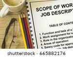 job description and scope of... | Shutterstock . vector #665882176