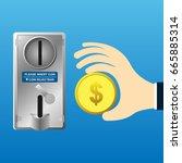 hand holder coin and insert... | Shutterstock .eps vector #665885314