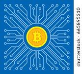 bitcoin blockchain modern... | Shutterstock .eps vector #665895310