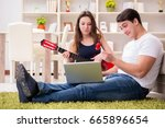 romantic pair playing guitar on ...   Shutterstock . vector #665896654
