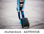 young slim woman dressed in...   Shutterstock . vector #665904538