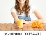 weight loss concept. beautiful... | Shutterstock . vector #665911354