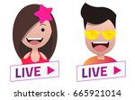 live stream sign with summer... | Shutterstock .eps vector #665921014