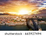 beautiful sunset in porto ... | Shutterstock . vector #665927494