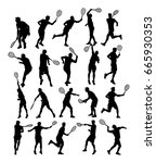 man tennis players vector... | Shutterstock .eps vector #665930353