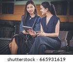 young business team use smart... | Shutterstock . vector #665931619