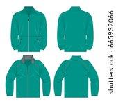 teal color autumn fleece jacket ... | Shutterstock .eps vector #665932066