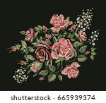 embroidery design. red pink... | Shutterstock . vector #665939374