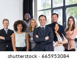 boss and business people group... | Shutterstock . vector #665953084