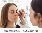 beautiful young woman gets... | Shutterstock . vector #665953420