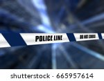 3d render of a police line tape ... | Shutterstock . vector #665957614