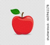 red apple on a transparent... | Shutterstock .eps vector #665961178