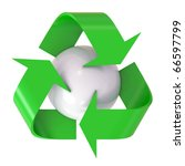3d recycle logo with globe... | Shutterstock . vector #66597799