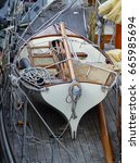 Small photo of Lifeboat aboard classic yacht, Padstow, Cornwall, UK