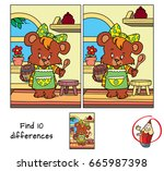 little bear girl in apron with... | Shutterstock .eps vector #665987398