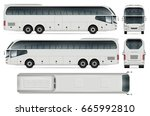 coach bus vector mock up.... | Shutterstock .eps vector #665992810