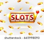 golden slots machine wins the... | Shutterstock .eps vector #665998093
