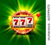golden slot machine wins the... | Shutterstock .eps vector #665999470