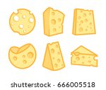 set of cheese icons isolated on ... | Shutterstock .eps vector #666005518