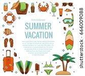 summer vacation beach icon...   Shutterstock .eps vector #666009088