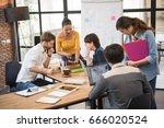 group of five creative worker... | Shutterstock . vector #666020524