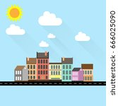 building cityscape flat vector... | Shutterstock .eps vector #666025090