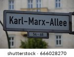 """Small photo of Street Sign in Berlin, Germany: """"Karl-Marx-Allee"""""""