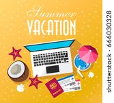summer trip. air tickets ... | Shutterstock .eps vector #666030328