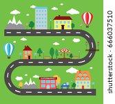 lovely city landscape car track.... | Shutterstock .eps vector #666037510