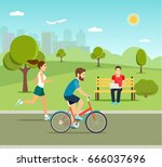 man riding a bicycle young man... | Shutterstock .eps vector #666037696