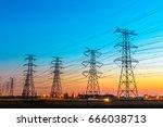 high voltage post high voltage... | Shutterstock . vector #666038713