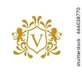 victory royal lion brand logo... | Shutterstock .eps vector #666038770