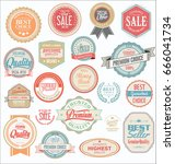 retro vintage badges and labels ... | Shutterstock .eps vector #666041734